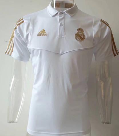 Мужская футболка поло Реал Мадрид,19/20 белая и  золотистый лого, фото 2