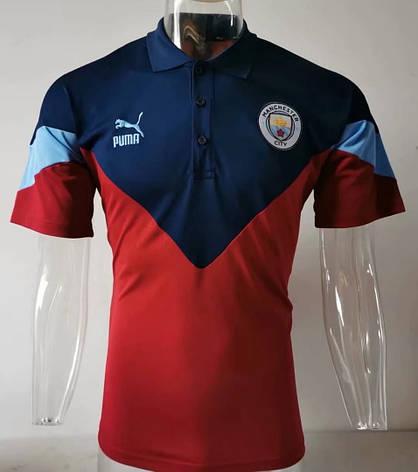 Мужская спортивная футболка поло, 2020 Ман Сити сине-вышневый, фото 2