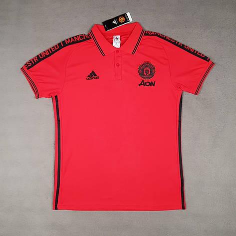 Мужская спортивная футболка поло, с воротником Манчестер Юнайтед, Адидас, 2019-2020 сезон, красная, фото 2