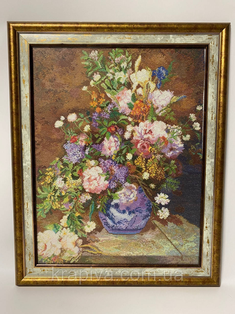 Картина вышивка Цветы 56*45 см, ручная работа, картина вишивка ручної роботи
