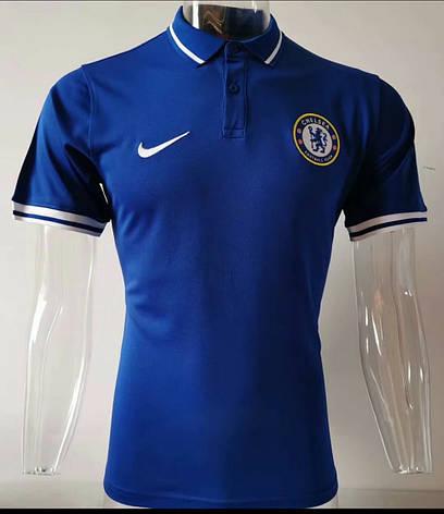 Мужская спортивная футболка поло, с воротником 19/20 Челси синяя, фото 2