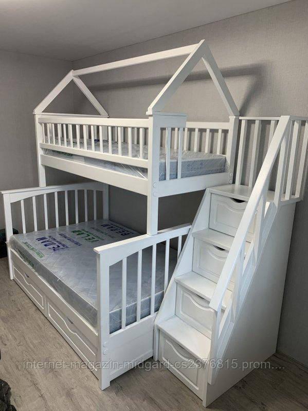 """Двухъярусная трехспальная деревянная кроватка с лестницей комодом """"Хилтон"""" массив дерева от производителя!"""