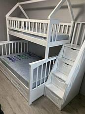 """Двухъярусная трехспальная деревянная кроватка с лестницей комодом """"Хилтон"""" массив дерева от производителя!, фото 3"""
