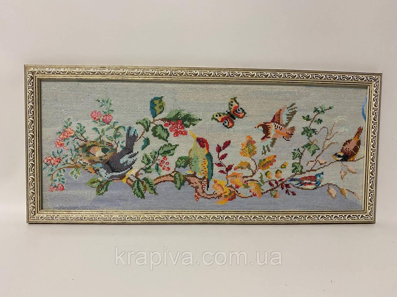 Картина вышивка Райские птицы шелк 54*24 см, ручная работа, картина вишивка ручної роботи