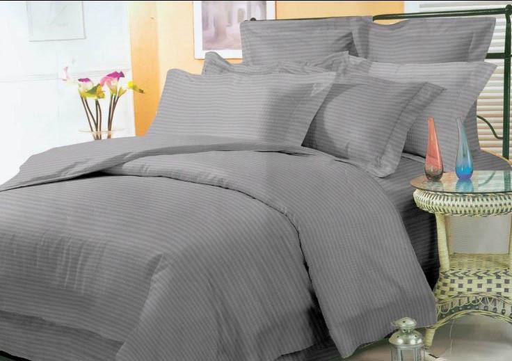 """Стильное однотонное постельное белье из бязи Ранфорс """"Страйп серый"""""""