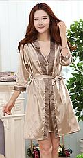 Женский комплект Vero Moda атласный халат и ночная рубашка песочный XL, фото 2