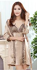 Женский комплект Vero Moda атласный халат и ночная рубашка песочный XL, фото 3