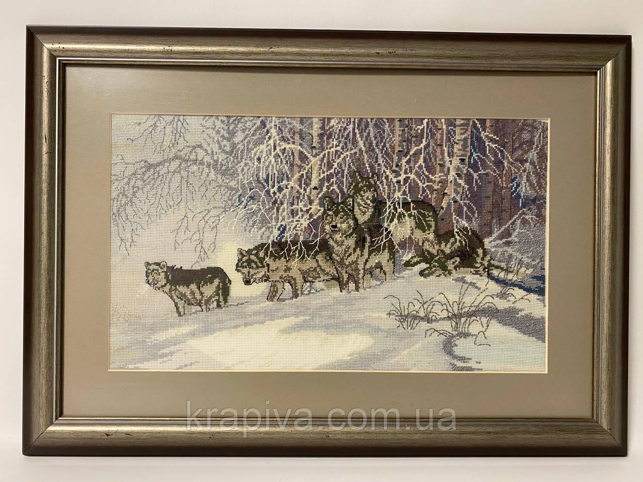 Картина вышивка Волки 61*43 см, ручная работа, картина вишивка ручної роботи