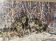 Картина вышивка Волки 61*43 см, ручная работа, картина вишивка ручної роботи, фото 2
