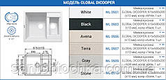 "Мийка кухонна GLOBAL DICOOPER, 615х500х200 (+- 10мм),колір ""Black"""