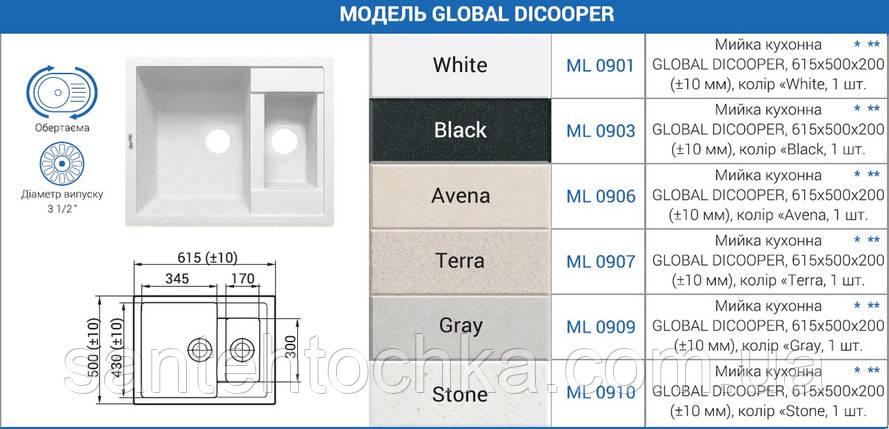 "Мийка кухонна GLOBAL DICOOPER, 615х500х200 (+- 10мм),колір ""Avena"", фото 2"