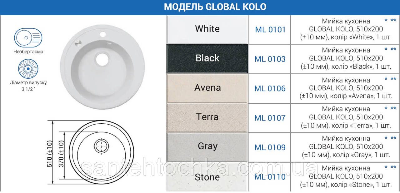"Мийка кухонна GLOBAL KOLO, 510х200 (+- 10мм),колір ""Avena"""