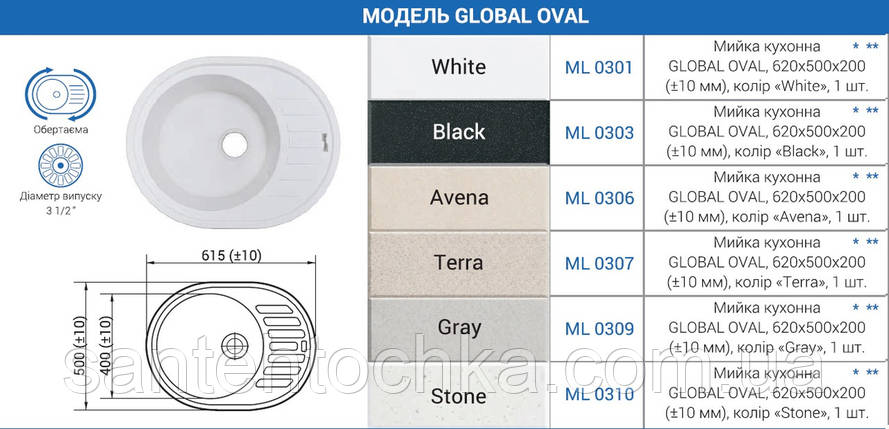 "Мийка кухонна GLOBAL OVAL, 620х500х200 (+- 10мм), колір ""Stone"", фото 2"