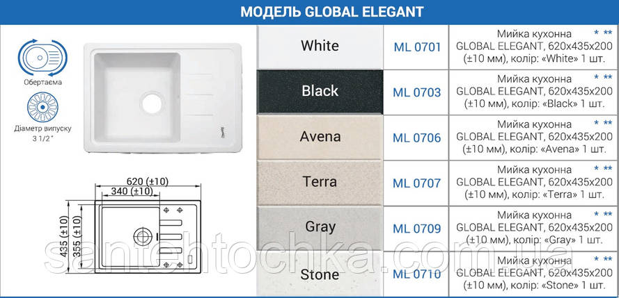 """Мийка кухонна GLOBAL ELEGANT, 620х435х200 (+- 10мм), колір """"Black"""", фото 2"""