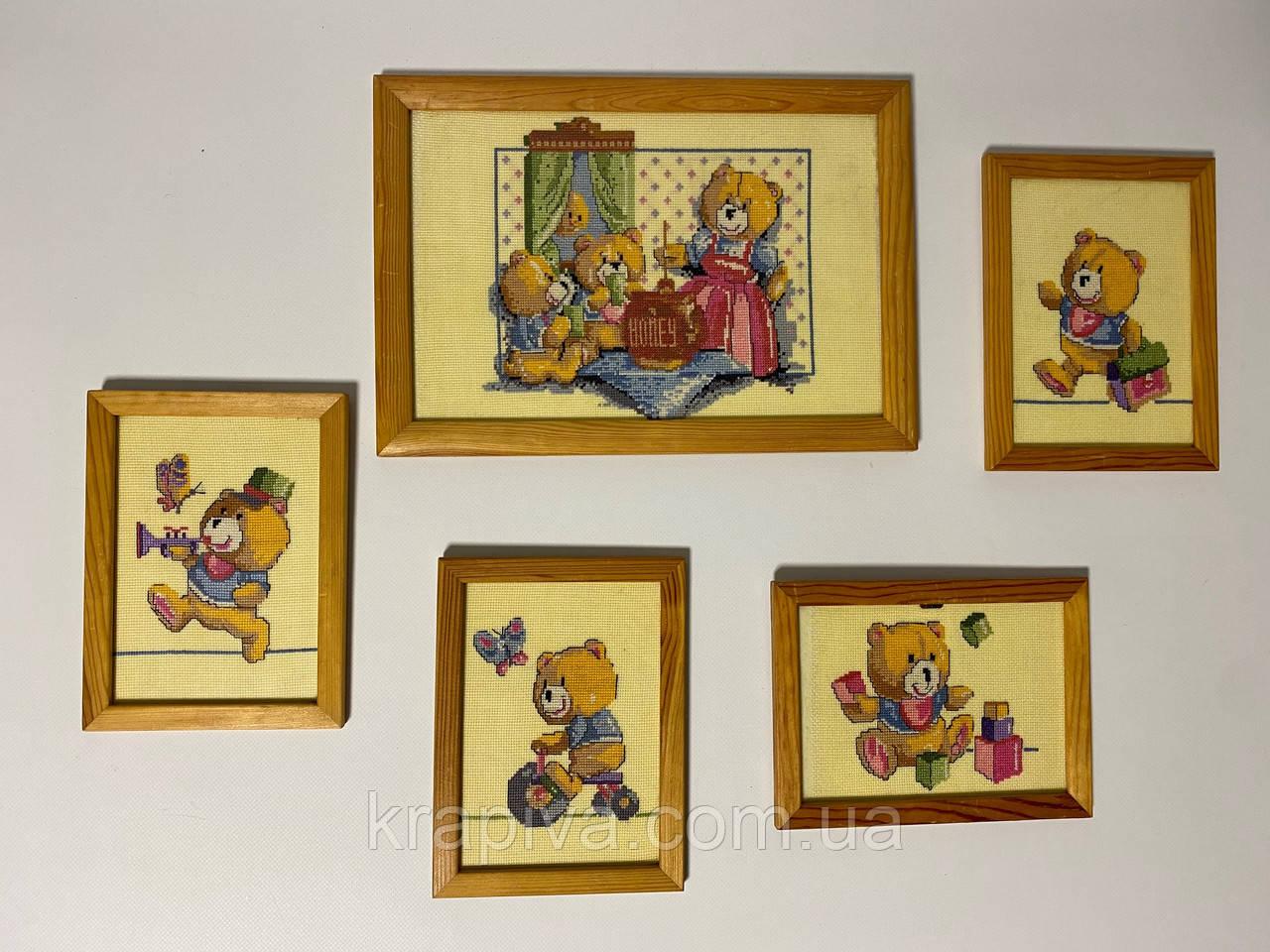 Картина вышивка 5 картин Семья мишек, ручная работа, картина вишивка ручної роботи