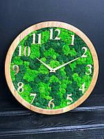 Деревянные Эко-часы 20 см со стабилизированным мхом настенные Оригинальный декор подарок Годинник дерев'янний