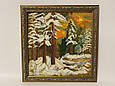 Картина вышивка Зимний лес 38*38 см, ручная работа, картина вишивка ручної роботи, фото 2