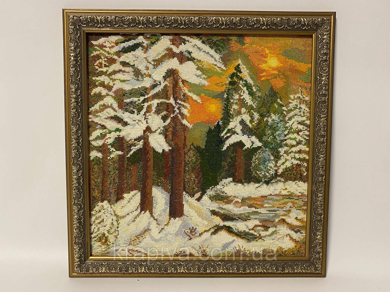 Картина вышивка Зимний лес 38*38 см, ручная работа, картина вишивка ручної роботи