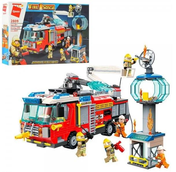 """Конструктор """"Пожарная машина"""" Qman 2809, 647 деталей"""