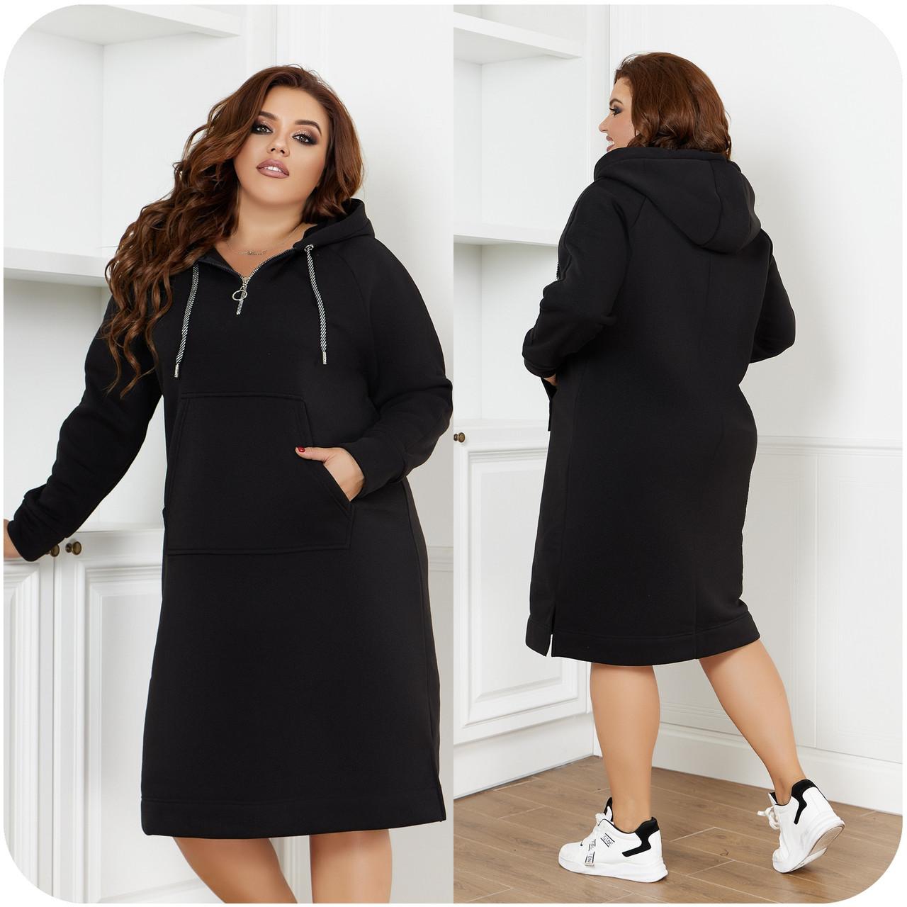 Тепла з начосом спортивного стилю сукня з капюшоном і кишенею спереду, батал великі розміри