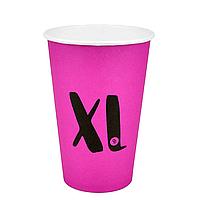 """Стакан бумажный Цветной """"XL"""" Розовый  340 мл  50шт/уп"""