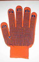 Трикотажные перчатки с ПВХ нанесением  оранжевые, фото 1