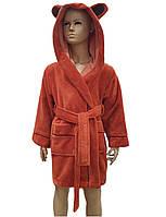 Детский банный халат с капюшоном бамбуковый натуральный халат махровый для для детей, на 3/4 лет, Nusa
