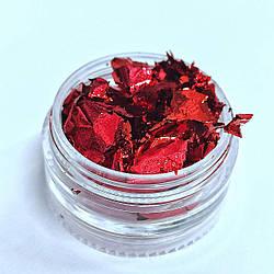 Фольга жата червона для декору нігтів - Сусальне золото для дизайну нігтів - Фарба для нігтів Фольга жата