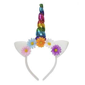 Рог Единорога (радужный) с цветными ромашками