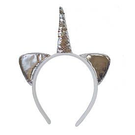 Ушки Единорога серебро с пайетками