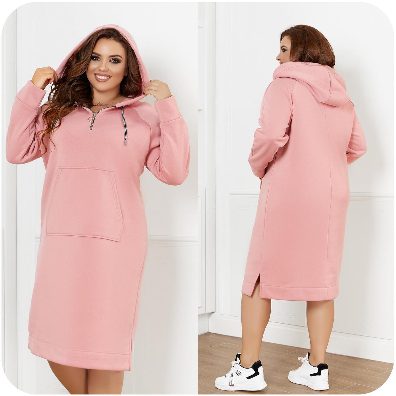 Теплое с начесом спортивного стиля платье с капюшоном и карманом спереди, батал большие размеры