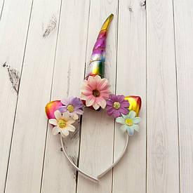 Рог Единорога (радужный) с цветами