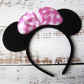 Ушки Микки Мауса с бантом (черные с розовым)