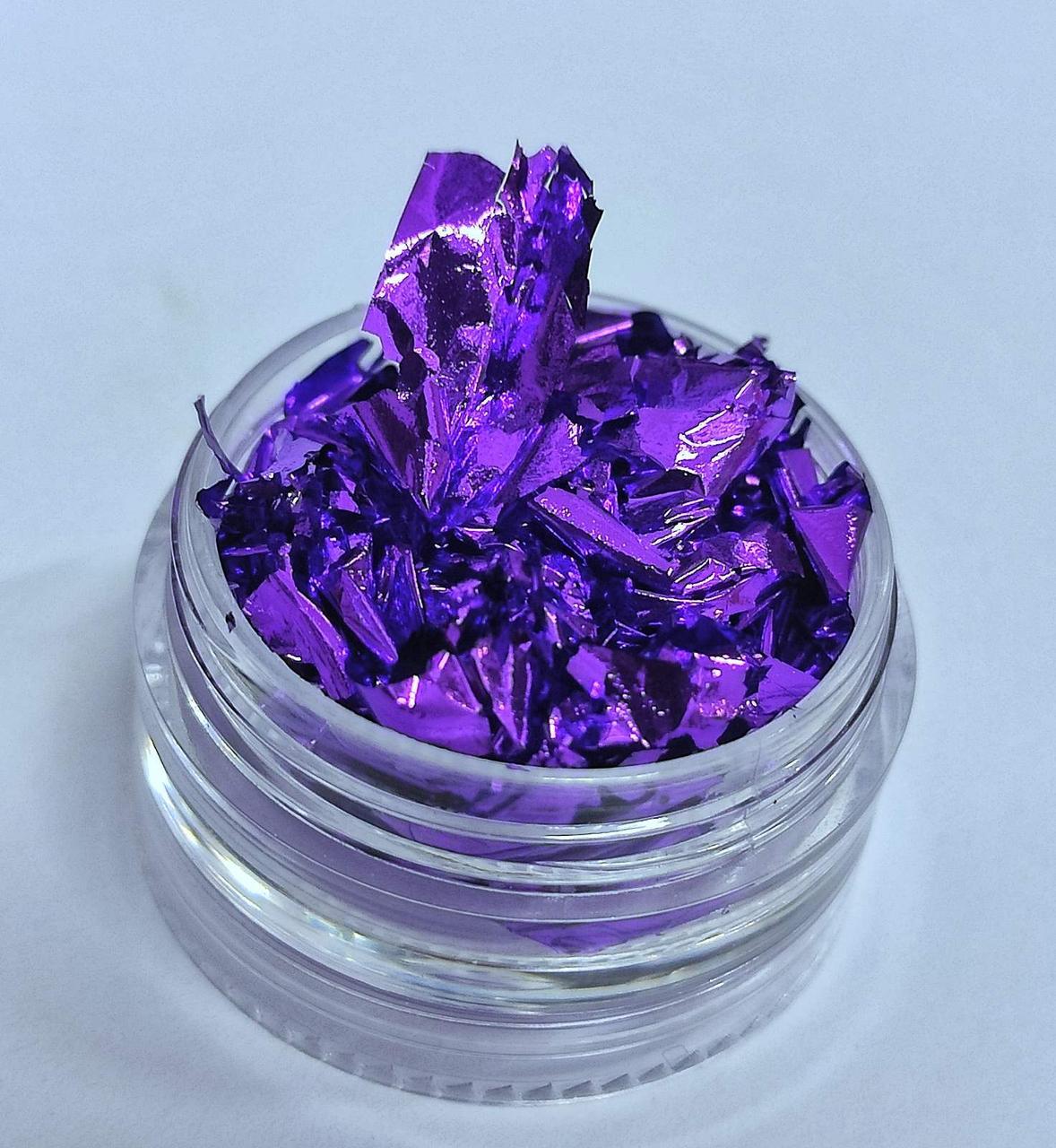Жата фольга для дизайну нігтів фіолетова - Сусальне золото для декору нігтів Фарба для нігтів фольга жата