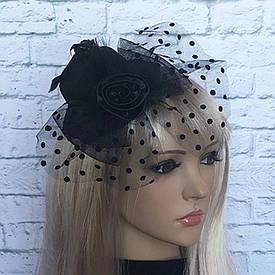 Капелюшок Гламур маленька з трояндою (чорна)