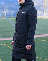 Мужская зимняя куртка длинная парка Adidas черная Турция. Живое фото. Чоловіча куртка