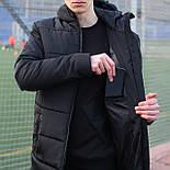 Мужская зимняя куртка длинная парка Adidas черная Турция. Живое фото. Чоловіча куртка, фото 2
