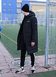 Мужская зимняя куртка длинная парка Adidas черная Турция. Живое фото. Чоловіча куртка, фото 4