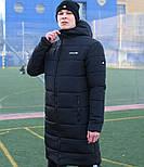 Мужская зимняя куртка длинная парка Adidas черная Турция. Живое фото. Чоловіча куртка, фото 5