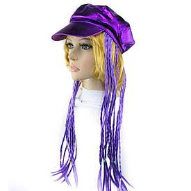 Кепка жіноча з косичками (фіолетова)
