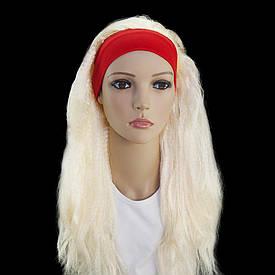 Парик карнавальний Гофре з пов'язкою блонд