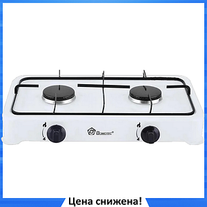 Газовая плита настольная таганок Domotec MS-6662 на 2 конфорки (Белая)