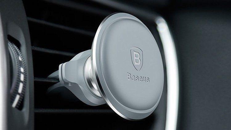 Автомобильный магнитный держатель для телефона Baseus Magnetic Air Vent Car Mount Holder with cable clip Black Silver