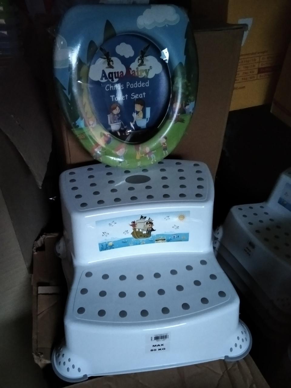 Подставка для ног 2 ступени накладка на унитаз, комплект детский,Турция Dunya комплект для ванны