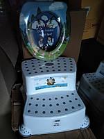 Подставка для ног 2 ступени накладка на унитаз, комплект детский,Турция Dunya комплект для ванны, фото 1