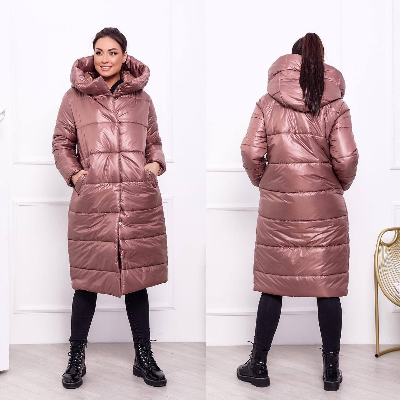 Женская теплая стеганная осенне-зимняя куртка-пальто на синтепоне, с капюшоном, батал большие размеры