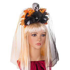 Прикраса на голову Хеллоуїн Санта Муэрте з подвійною фатою 8949-016