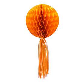 Паперовий шар стільники з бахромою (30см) помаранчевий