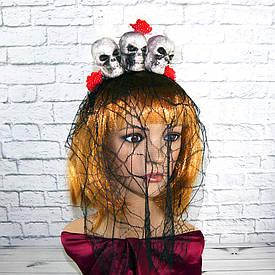 Ободок (обруч) для волос Три призрака красный с белым