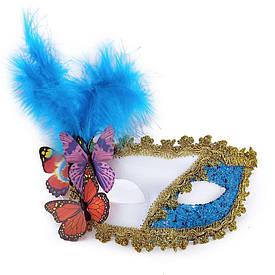 Венеціанська маска Загадка біла з блакитним